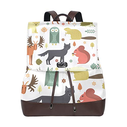 DEZIRO leather Animals In The Forest School pack Backpacks Travel bag from DEZIRO