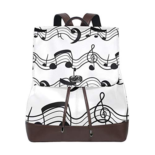 DEZIRO leather Black And White Musical Note School pack Backpacks Travel bag from DEZIRO