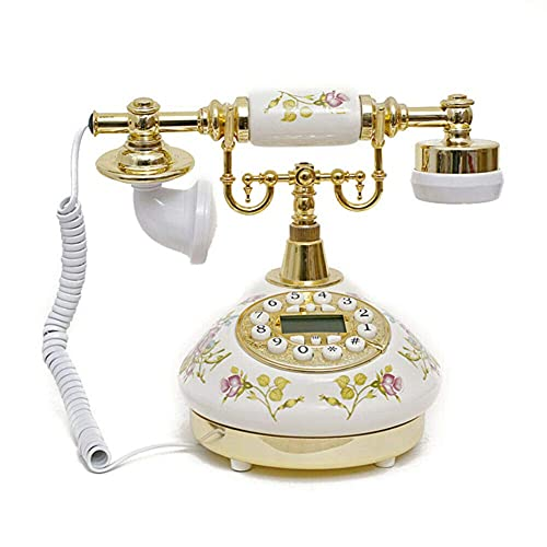 New Replica Antique Telephone, Vintage Retro landline house home phone handset, corded machine Golden fashion 60s classic dial set BT antik from Designo