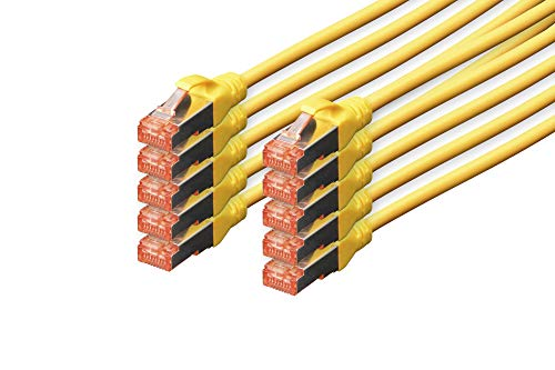 Digitus CAT 6 S-FTP patch cord, Cu, LSZH AWG 27/7, length 0.5 m, 10 pieces, color yellow from Digitus