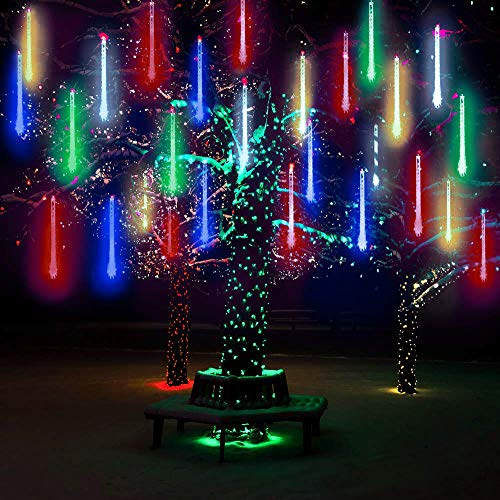 LED Meteor Shower Solar Lights Outdoor,DINOWIN Waterproof Garden Lights 30cm 10 Tubes 360LEDs Falling Lights Raindrop Lights,Holiday Party Wedding Christmas Tree Decoration String lights (Multicolour) from DINOWIN