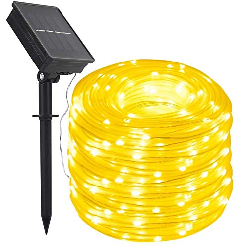 Solar Rope Lights,DINOWIN 100 LEDs 39ft/12M Waterproof Copper Wire Lights Tube, Outdoor Rope Lights for Garden Yard Path Fence Tree Wedding Party Decorative (Warm White) from DINOWIN