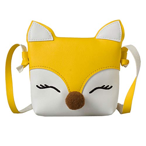 DOLDOA Children's Cartoon Fox Shaped Shoulder Handbag Kids Girls Boys Lovely Mini Crossbody Bag Packet Purse,Sale Clearance(Yellow) from DOLDOA