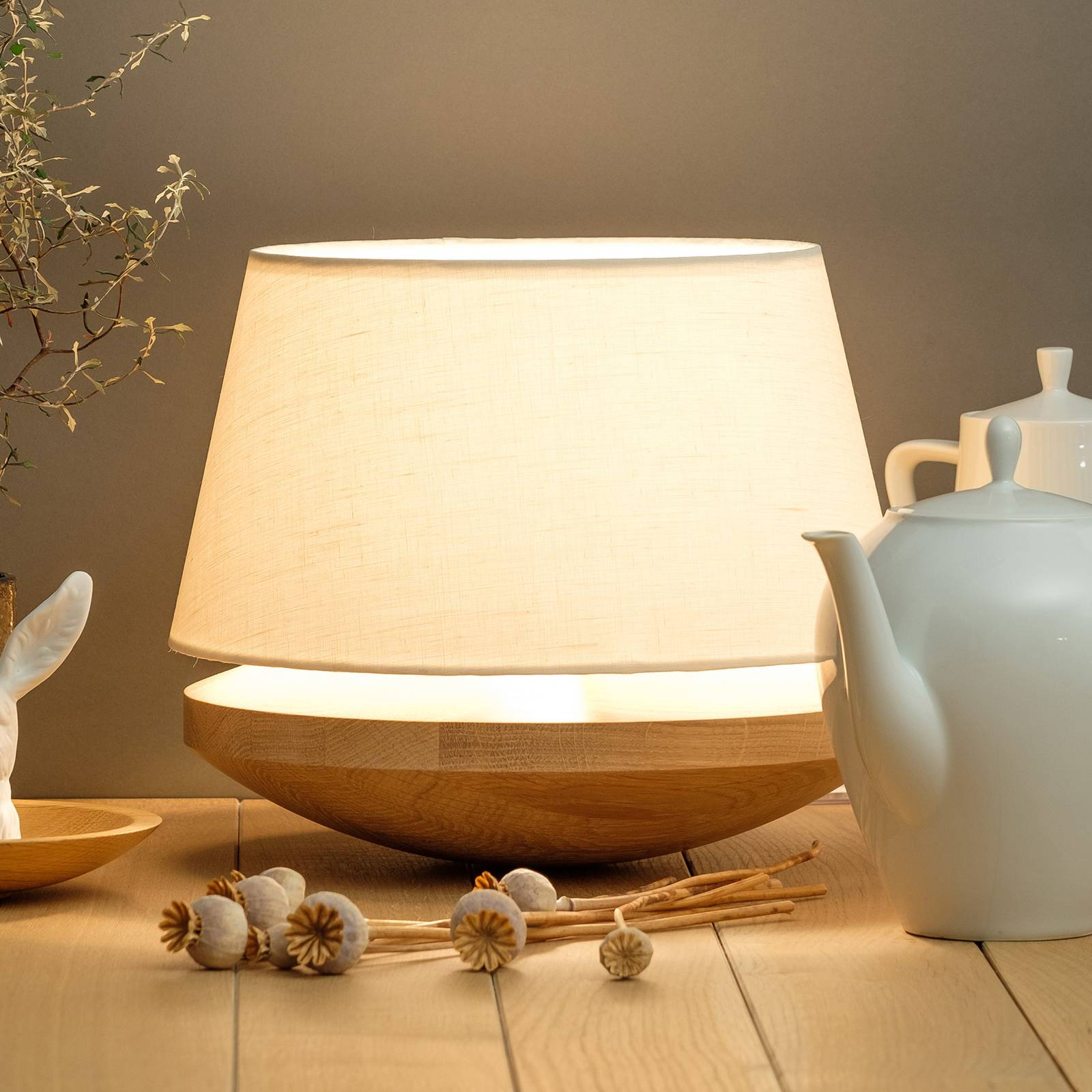 Kjell - table lamp with linen lampshade, cream from Domus