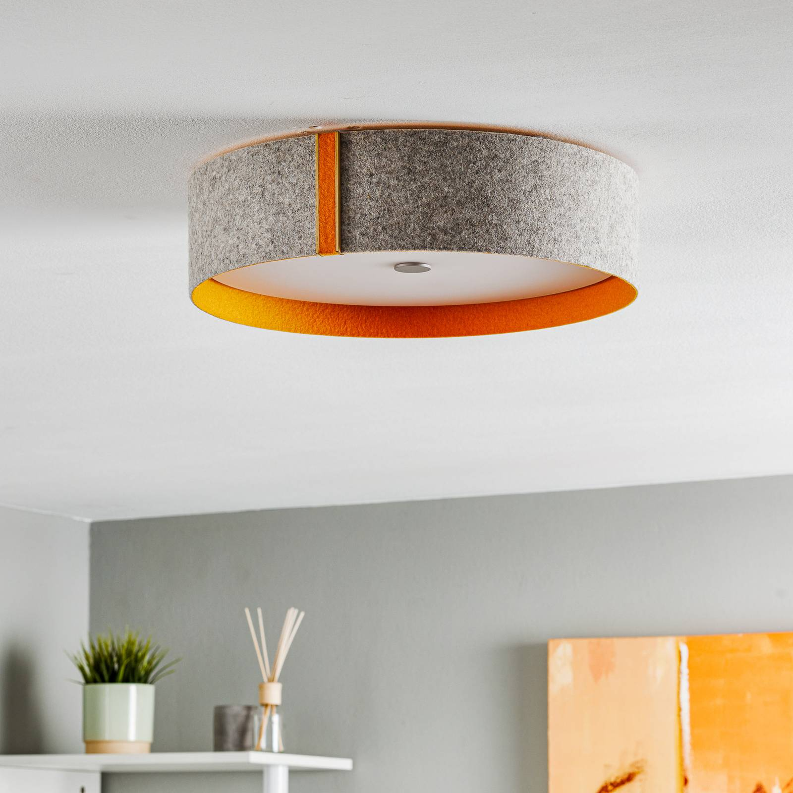 Orange-grey felt ceiling light Lara with LED from Domus