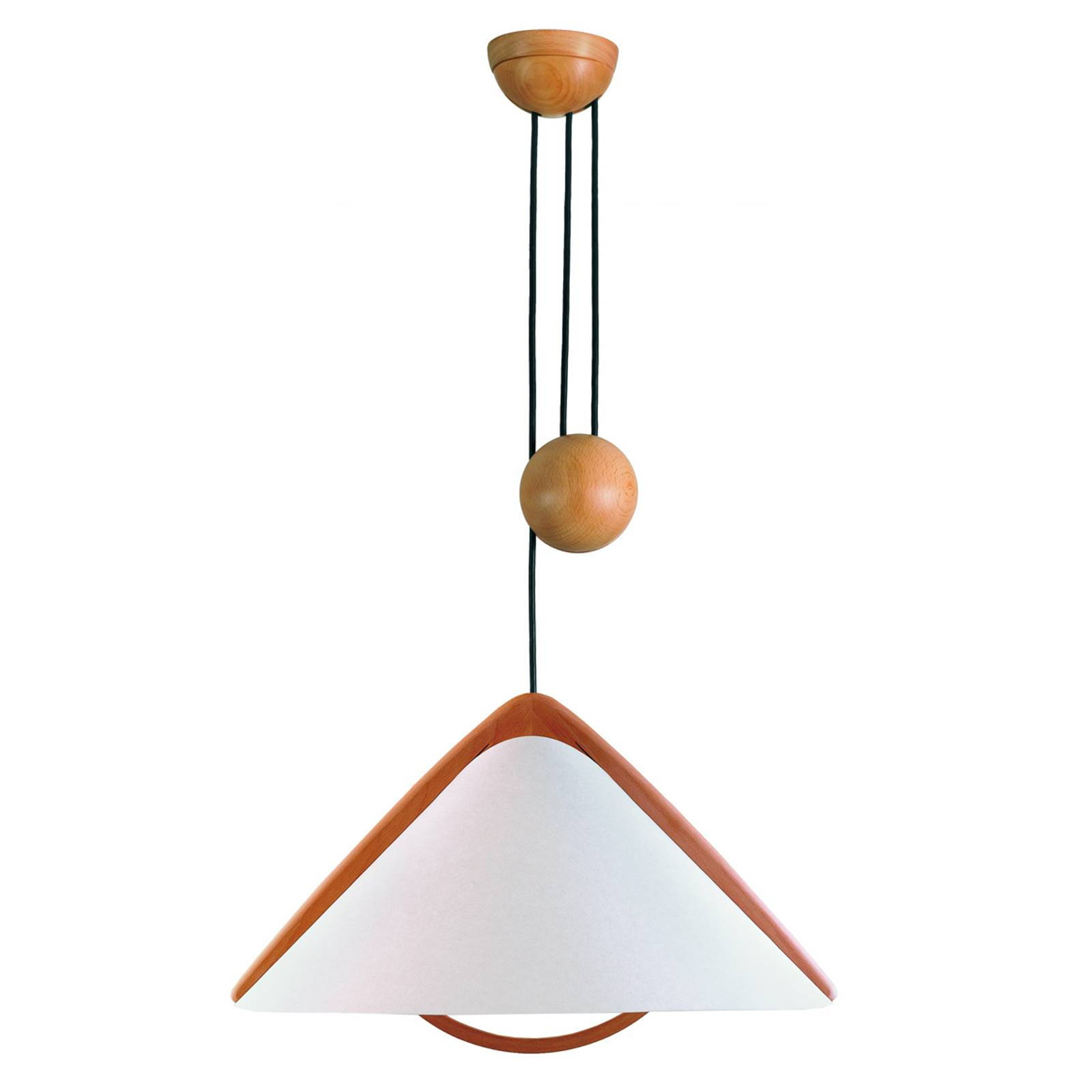 Rope pull light Pila with lunopal lampshade from Domus