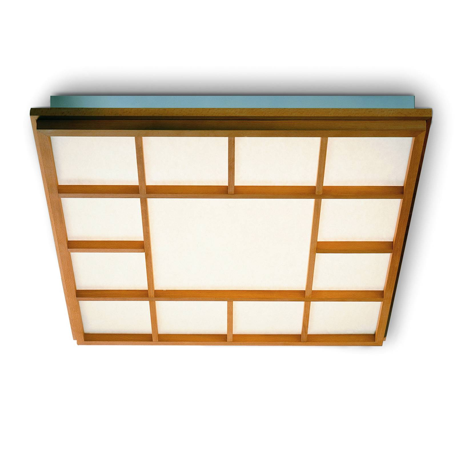Square LED ceiling light Kyoto 13, beech from Domus