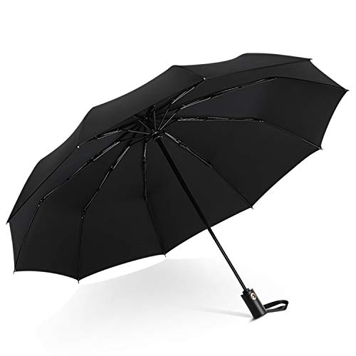 DORRISO Men Women Automatic Open/Close Folding Umbrella Extra Strong Windproof Portable Compact Travel Business Sun Umbrella Rain Umbrella Black from DORRISO