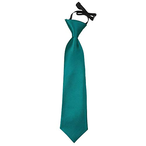 DQT Boys Plain Satin Wedding Formal Casual Elasticated Page Boy Pre-tied Neck Tie 2-7 Years - Teal from DQT