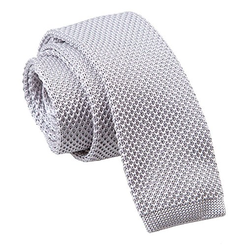 DQT Premium Knitted Polyester Plain Solid Silver Men's Fashion Casual Business Skinny Narrow 5cm Tie Necktie from DQT