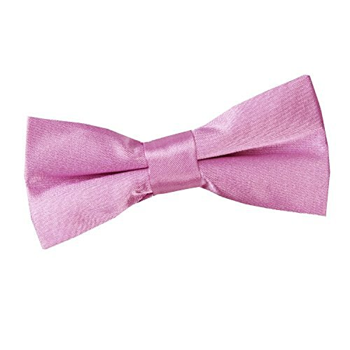 DQT Plain Glossy Satin Formal Wedding Tuxedo Pre-tied Bow Tie for Boys in Lilac from DQT