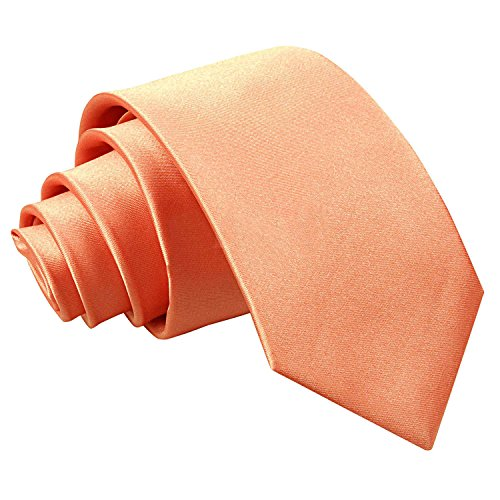 DQT Plain Glossy Satin Polyester Wedding Modern Style Neck Tie for Men in Coral from DQT