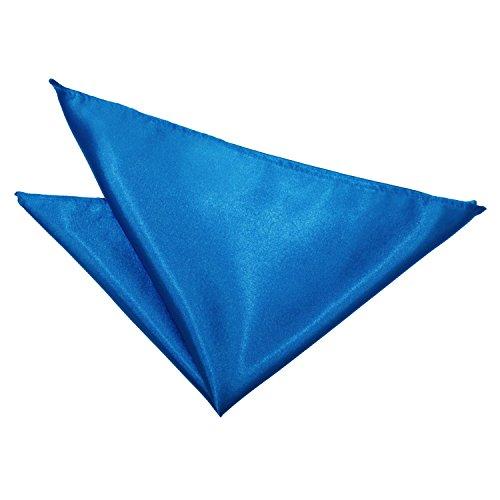 DQT Plain Satin Formal Casual Wedding Handkerchief Pocket Square Hanky - Electric Blue from DQT