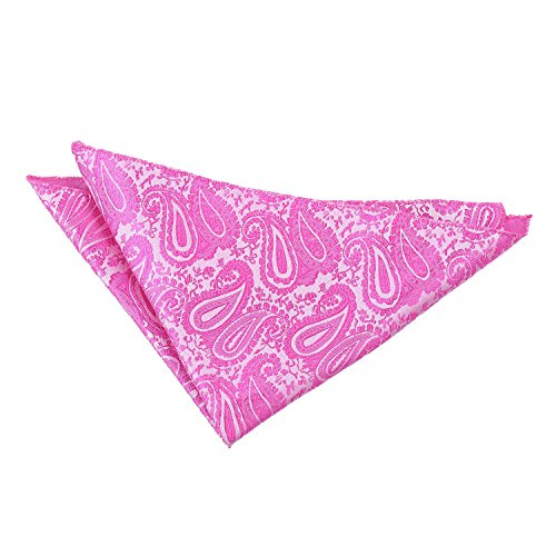 DQT Premium Woven Microfibre Paisley Patterned Fuchsia Pink Men's Fashion Wedding Handkerchief Pocket Square Hanky Accessory from DQT