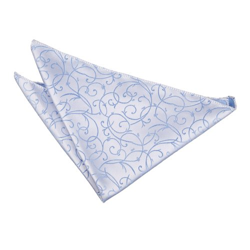 DQT Premium Woven Jacquard Swirl Baby Blue Handkerchief Pocket Square Hanky – Various Colours from DQT