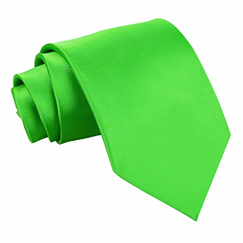 DQT Plain Glossy Satin Polyester Wedding Classic Neck Tie for Men in Apple Green from DQT