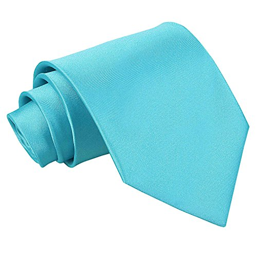 DQT Plain Glossy Satin Polyester Wedding Classic Neck Tie for Men in Robins Egg Blue from DQT