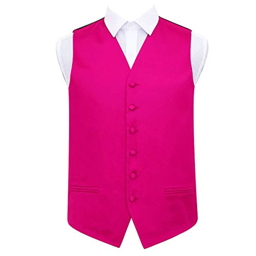 "DQT Plain Satin Classic Glossy Wedding Waistcoat Vest Suit for Men in Hot Pink 46"" from DQT"
