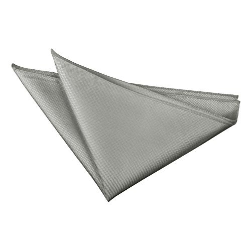DQT Plain Solid Check Formal Casual Wedding Handkerchief Pocket Square Hanky Silver from DQT