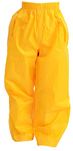 DRY KIDS Childrens Waterproof Over Trousers. Boys and Girls Rainwear for Outdoor Play, Gold, 13-14 Years from DRY KIDS
