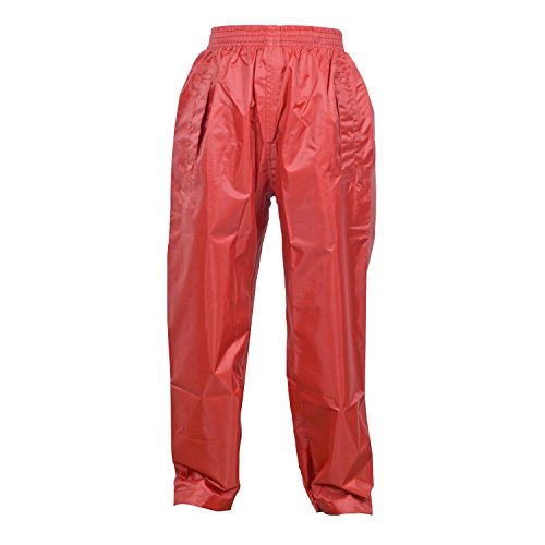 DRY KIDS Childrens Waterproof Over Trousers. Boys and Girls Rainwear for Outdoor Play, Bright Red, 9-10 Years from DRY KIDS