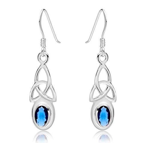 DTPSilver - 925 Sterling Silver Drop/Dangle Hooks Earrings - Trinity Knot - Celtic Collection - Blue Sapphire from DTPsilver
