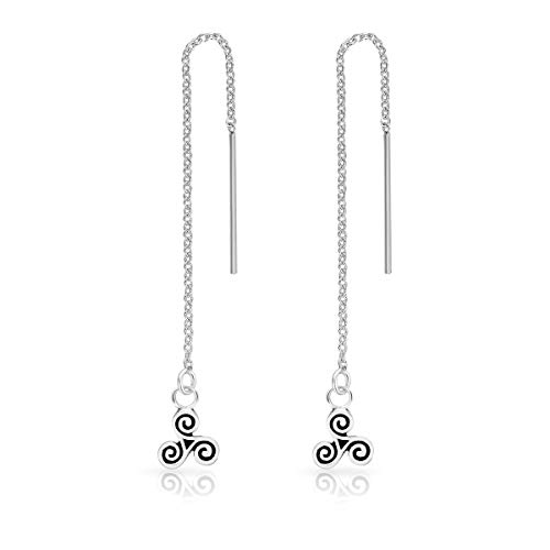 DTPsilver® 925 Sterling Silver Plated Pull Through/Thread Style Drop Chain Earrings and Small Celtic Triskele - Length: 75 mm - Triskele Diameter: 6 mm from DTPsilver