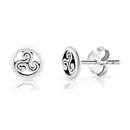 DTPsilver® SMALL 925 Sterling Silver Studs Earrings - Celtic Triskele - Diameter: 6 mm from DTPsilver