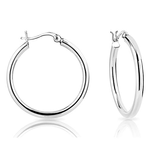 DTPSilver - 925 Sterling Silver Creole Hoops Earrings - Thickness 3 mm - Diameter 30 mm from DTPsilver