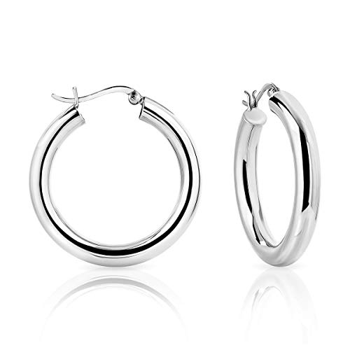 DTPSilver - 925 Sterling Silver Creole Hoops Earrings - Thickness 5 mm - Diameter 35 mm from DTPsilver