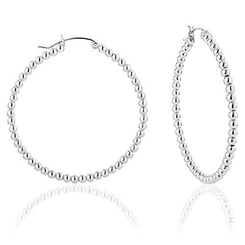 DTPSilver - 925 Sterling Silver Creole Hoops Earrings with balls - Thickness 3 mm - Diameter 50 mm from DTPsilver