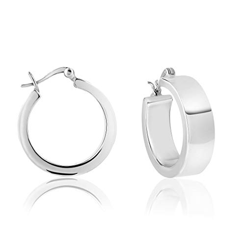DTPSilver - Thick Creole Hoops Earrings 925 Sterling Silver - Thick 3 mm - Wide 8 mm - Diameter 25 mm from DTPsilver