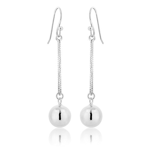 DTPSilver - 925 Sterling Silver Dangling Chain Earrings with Balls from DTPsilver