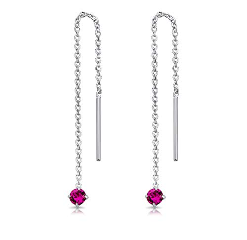 DTPsilver® 925 Sterling Silver SMALL Pull Through Drop Chain Earrings & MINI Round Dangling 3 mm Glittering Crystals from Swarovski® Elements - Total Length 57 mm - Colour : Fuchsia from DTPsilver
