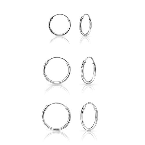 DTPSilver - Set of 3 Pairs of Hoops Earrings in 925 Sterling Silver - Thickness 1.2 mm - Diameter 12, 14 and 16 mm from DTPsilver