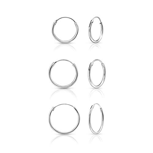 DTPSilver - Set of 3 Pairs of Hoops Earrings in 925 Sterling Silver - Thickness 1.2 mm - Diameter 16, 18 and 20 mm from DTPsilver