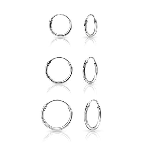 DTPSilver - Set of 3 Pairs of Tiny Hoops Earrings in 925 Sterling Silver - Thickness 1.5 mm - Diameter 10, 12 and 14 mm from DTPsilver