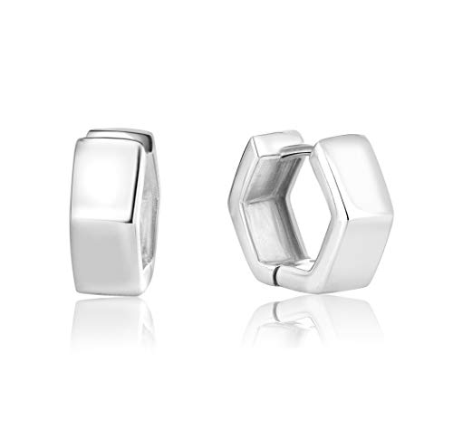 DTPSilver -Huggies/Hinged Hexagon Hoops Earrings 925 Sterling Silver -Thickness: 2 mm - Wide 5.5 mm - Diameter 14 mm from DTPsilver
