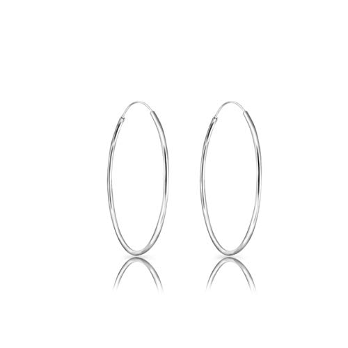 DTPsilver® 925 Sterling Silver LARGE Hoops/Sleepers Earrings - Thickness 1.2 mm - Diameter 40 mm from DTPsilver