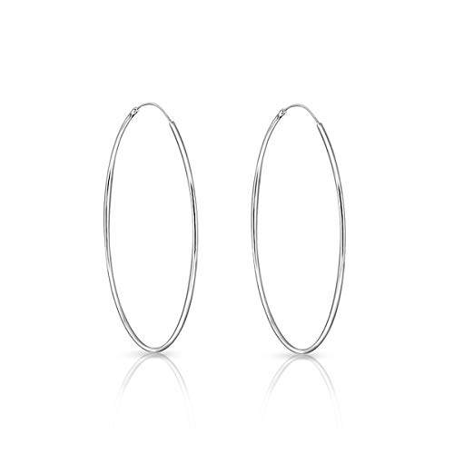DTPsilver® 925 Sterling Silver LARGE Hoops/Sleepers Earrings - Thickness 1.2 mm - Diameter 60 mm from DTPsilver