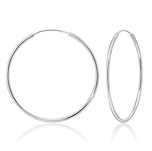 DTPsilver® 925 Sterling Silver LARGE Hoops/Sleepers Earrings - Thickness 2 mm - Diameter 60 mm from DTPsilver
