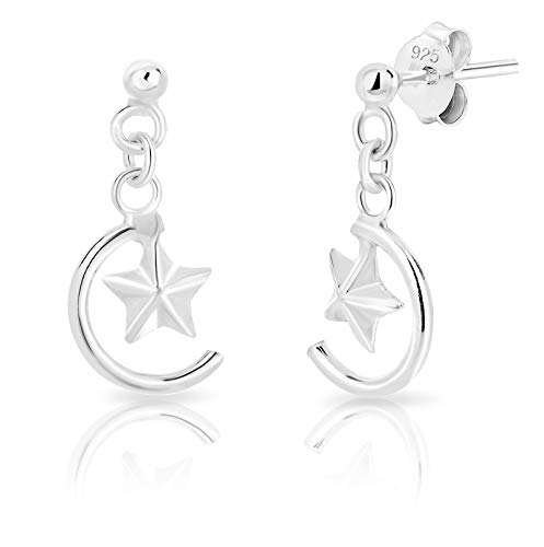 DTPsilver® SMALL 925 Sterling Silver Drop Dangle Studs Earrings - Crescent/Half Moon and Small Star - Size: 8 x 23 mm from DTPsilver