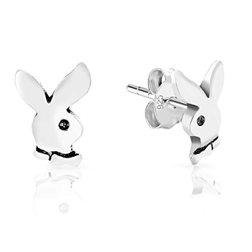 DTPsilver® SMALL 925 Sterling Silver Studs Earrings - Playboy Bunny Rabbit - Dimension: 7 x 9 mm from DTPsilver