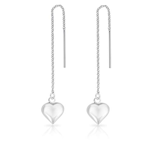 DTPsilver® 925 Sterling Silver Plated Pull Through/Thread Style Drop Chain Earrings and Puffed Heart - Length: 78 mm - Heart Diameter: 9 mm from DTPsilver