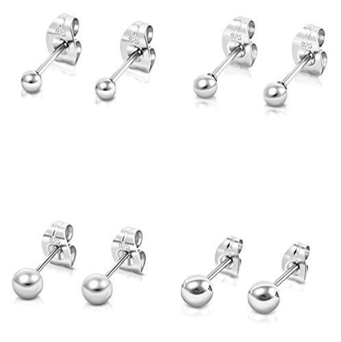DTPSilver - Set of 4 PAIRS of 925 Sterling Silver Round Ball Studs Earrings 2, 3, 4, 5 mm from DTPsilver