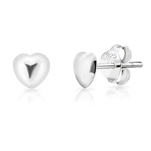 DTPsilver® SMALL 925 Sterling Silver Studs Earrings - Heart - Diameter: 5 mm from DTPsilver