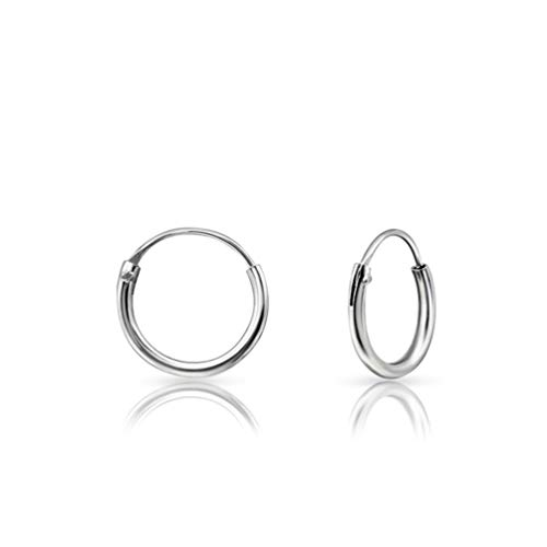 DTPSilver - Tiny Hoops Earrings in 925 Sterling Silver - Thickness 1.2 mm - Diameter 10 mm from DTPsilver