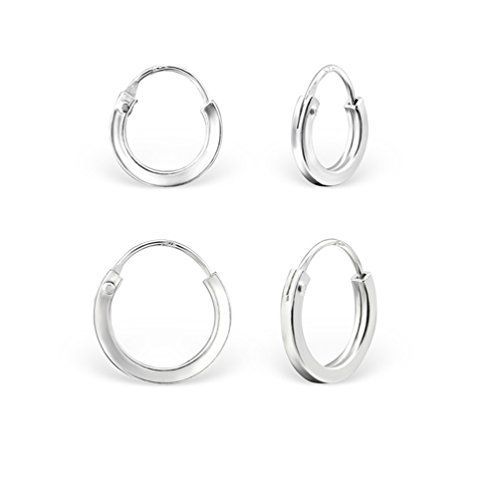 DTPSilver - Set of 2 Pairs of 925 Sterling Silver - Tiny/Small size Square Hoops/Sleepers/Creole Earrings - Thickness 2 mm - Diameter 10 and 12 mm from DTPsilver