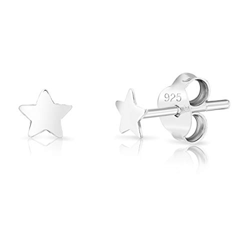 DTPsilver® SMALL 925 Sterling Silver Studs Earrings - Star - Diameter: 4 mm from DTPsilver