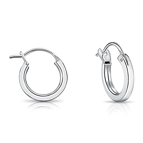 DTPSilver - 925 Sterling Silver Small/Medium/Large size Square Hinge Hoops/Sleepers/Creole Earrings - Thickness 2 mm - Diameter 14 mm from DTPsilver